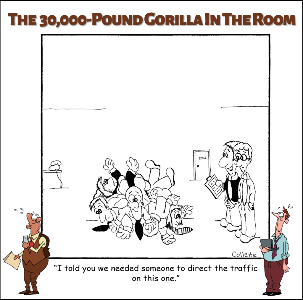direct the traffic cartoon annoying business phrase
