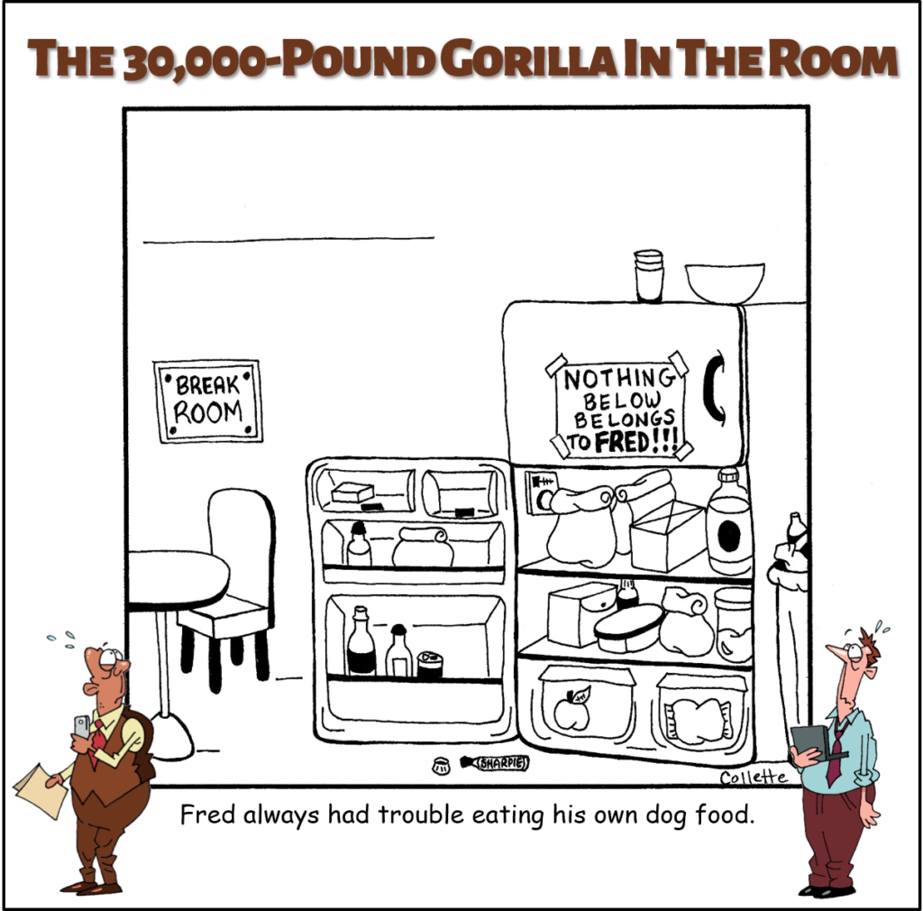 eat your own dog food cartoon annoying business term