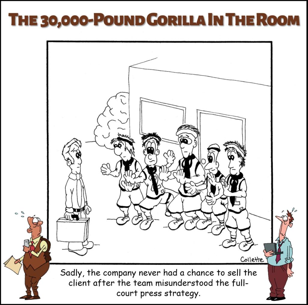 full-court press annoying business term cartoon