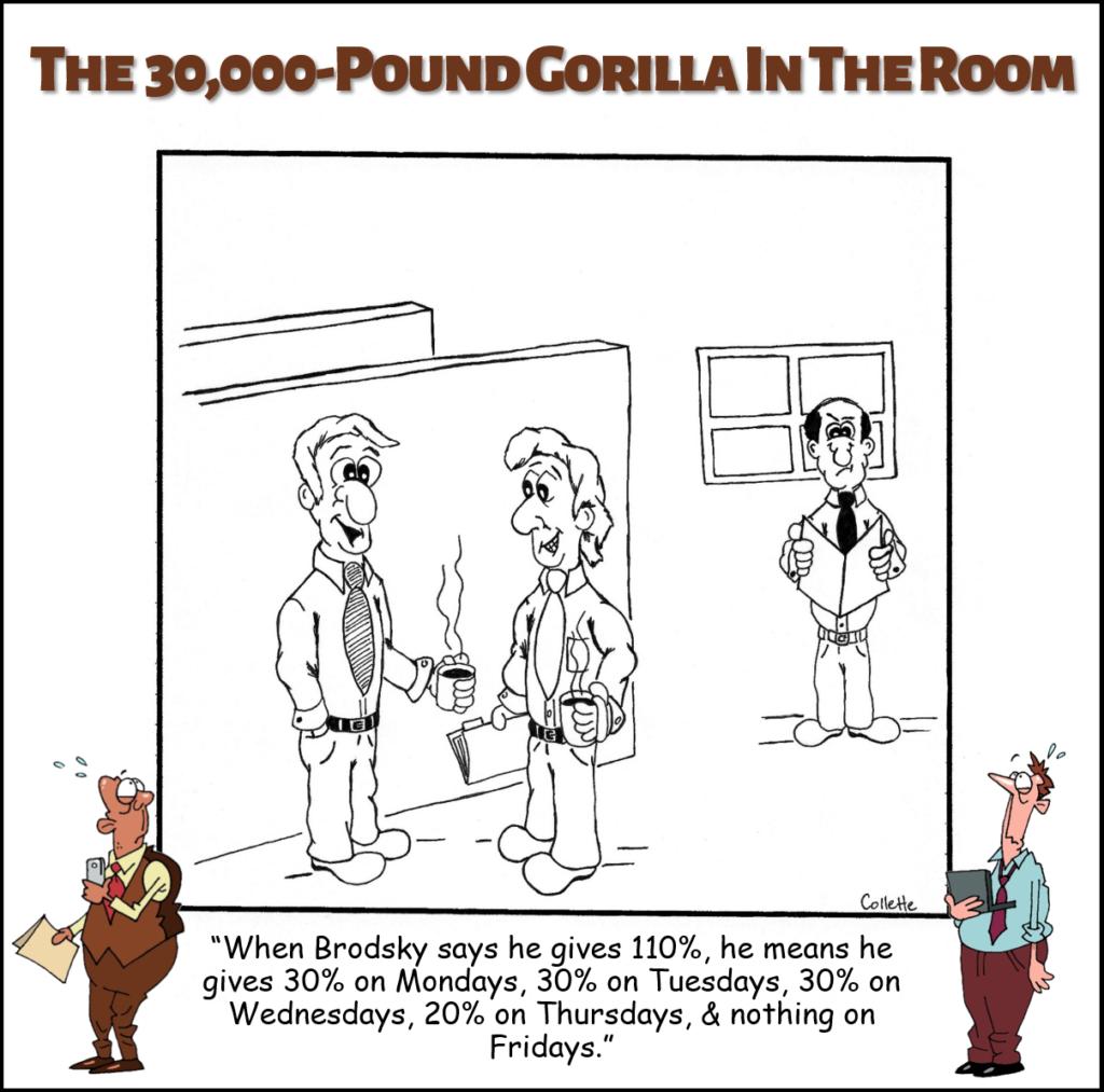 give 110% annoying business term cartoon