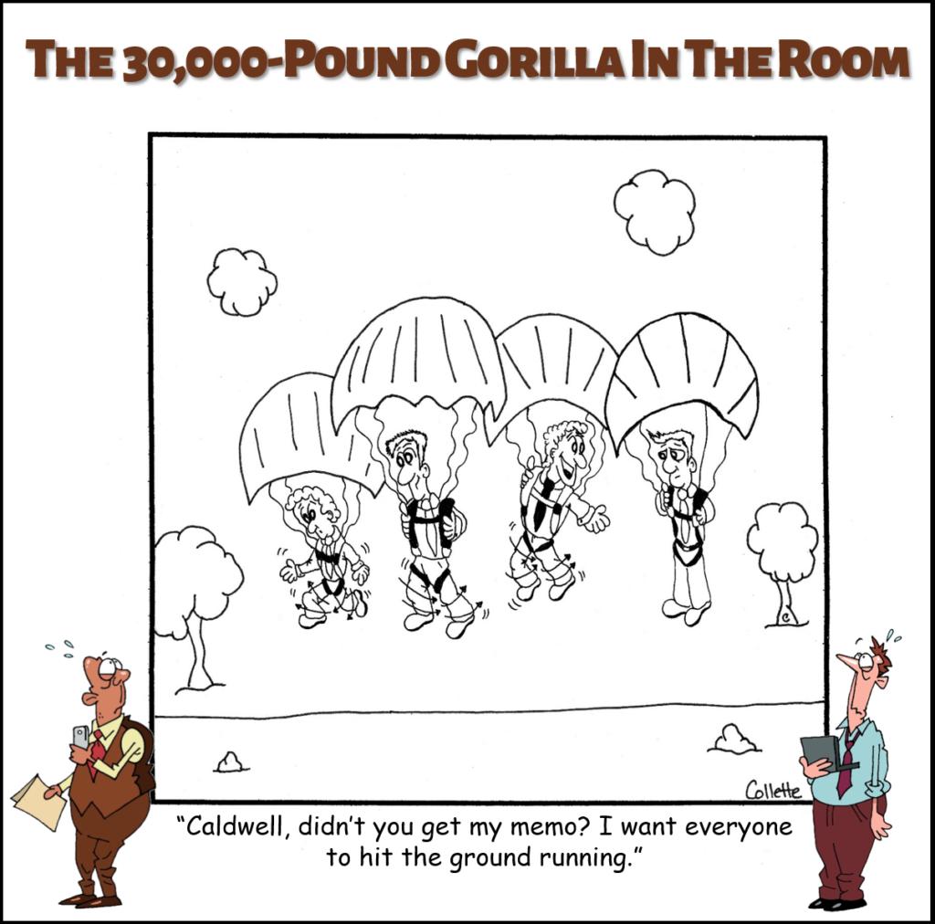 hit the ground running annoying business phrase cartoon