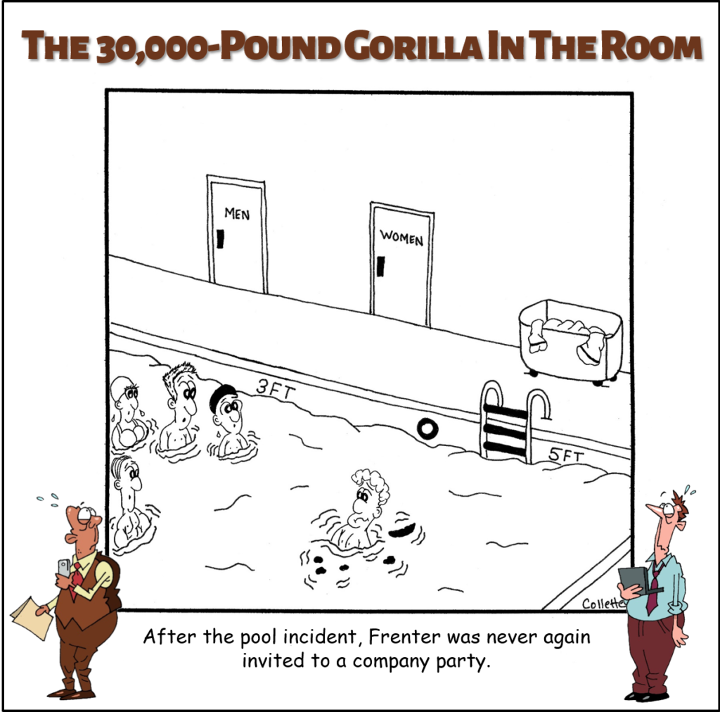 pee in your pool annoying business phrase cartoon