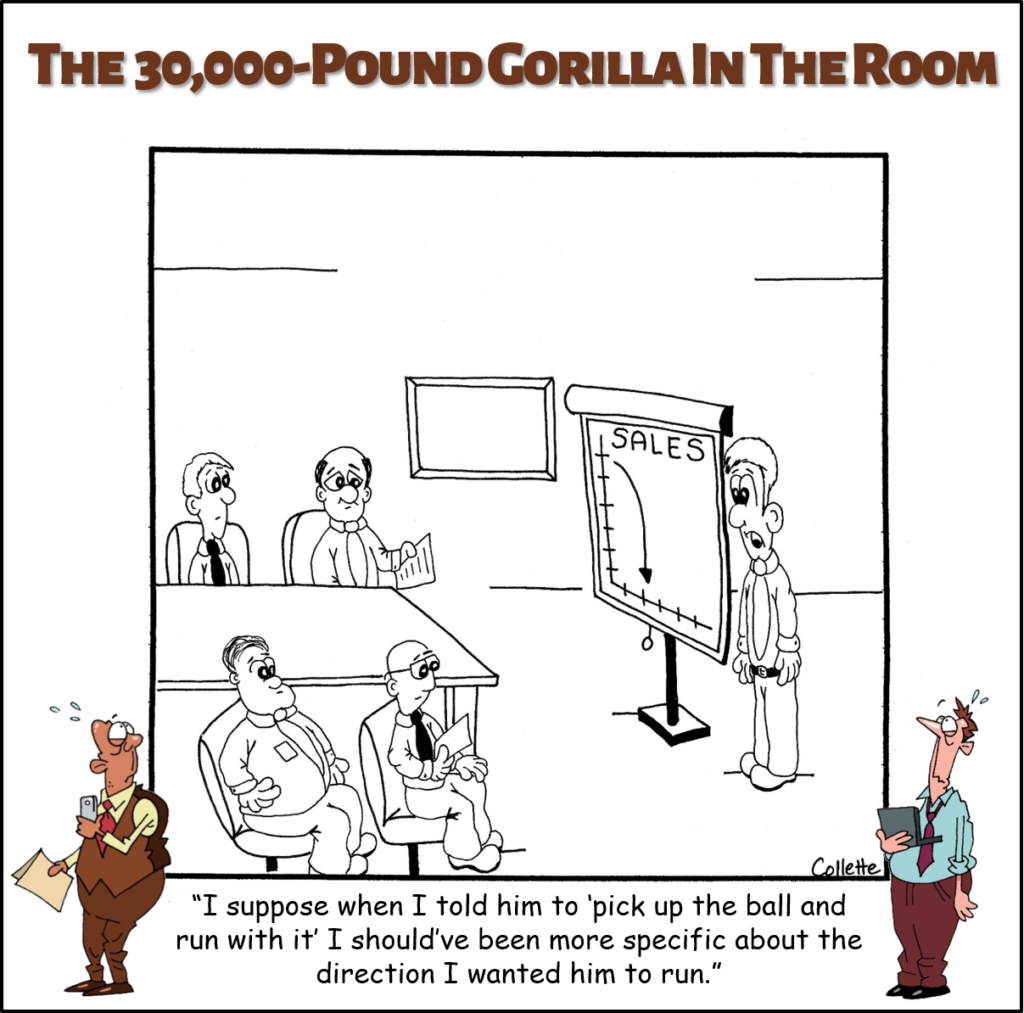 pick up the ball and run with it annoying business phrase cartoon