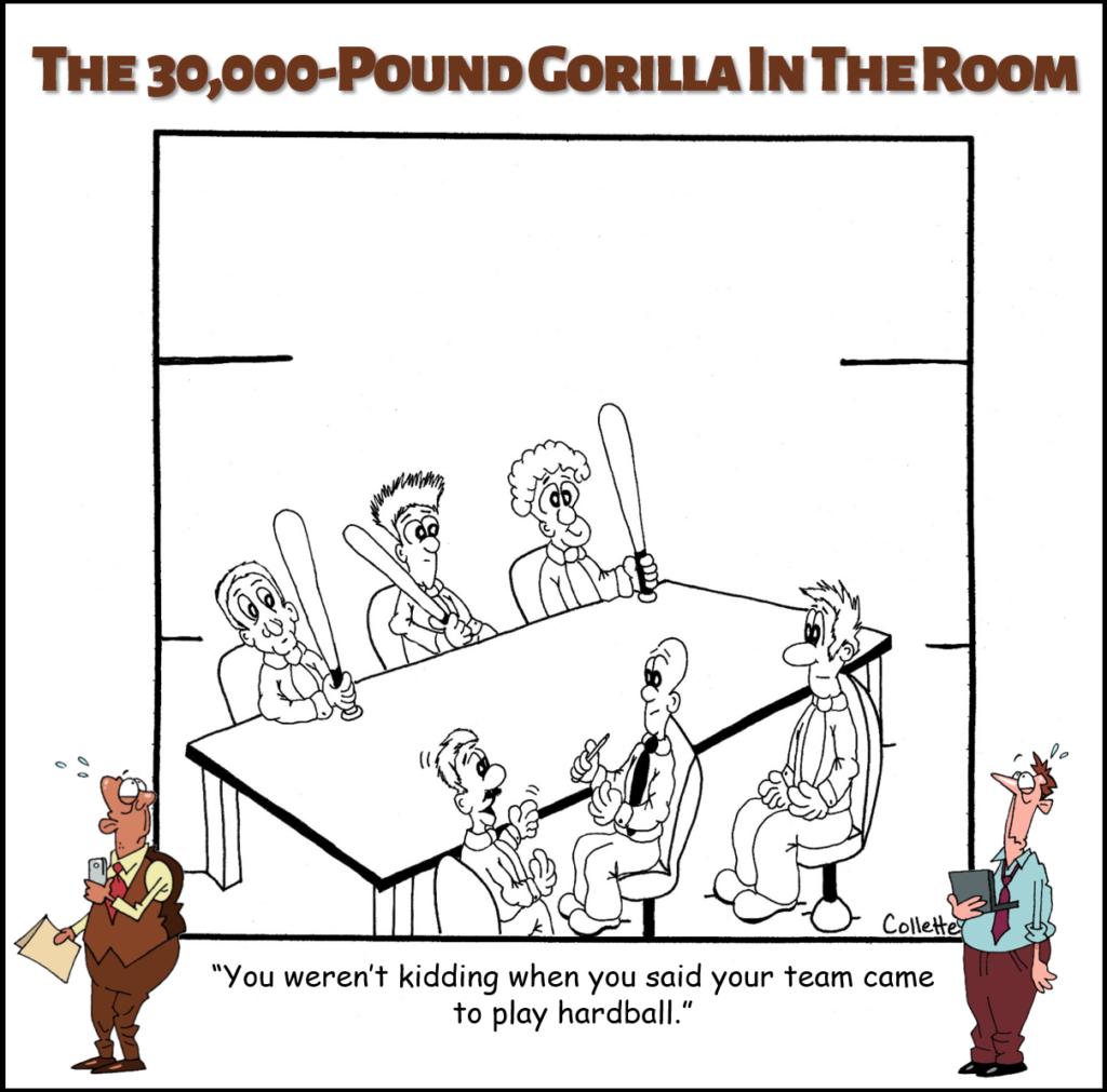 play hardball annoying business phrase cartoon