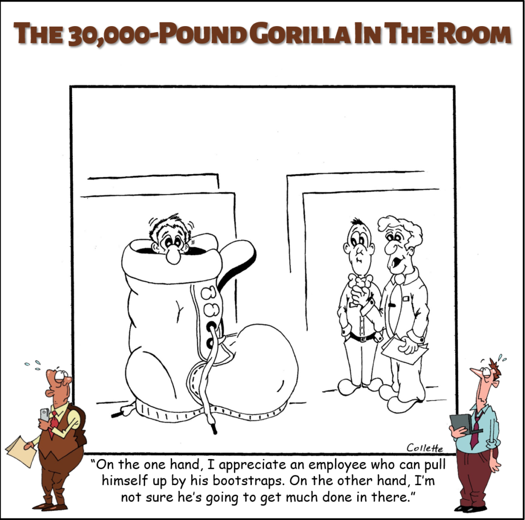 pull yourself up by your bootstraps annoying business phrase cartoon
