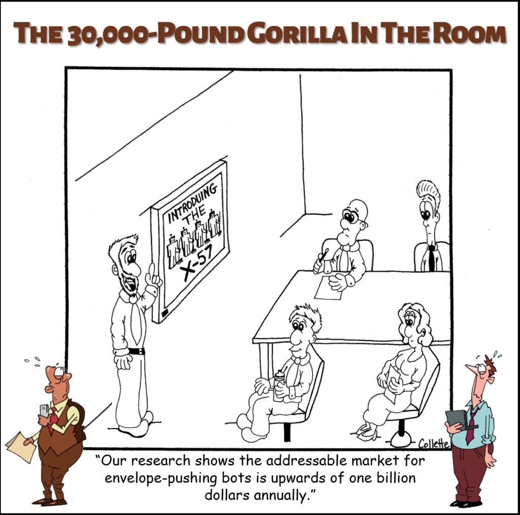 push the envelope annoying business jargon cartoon