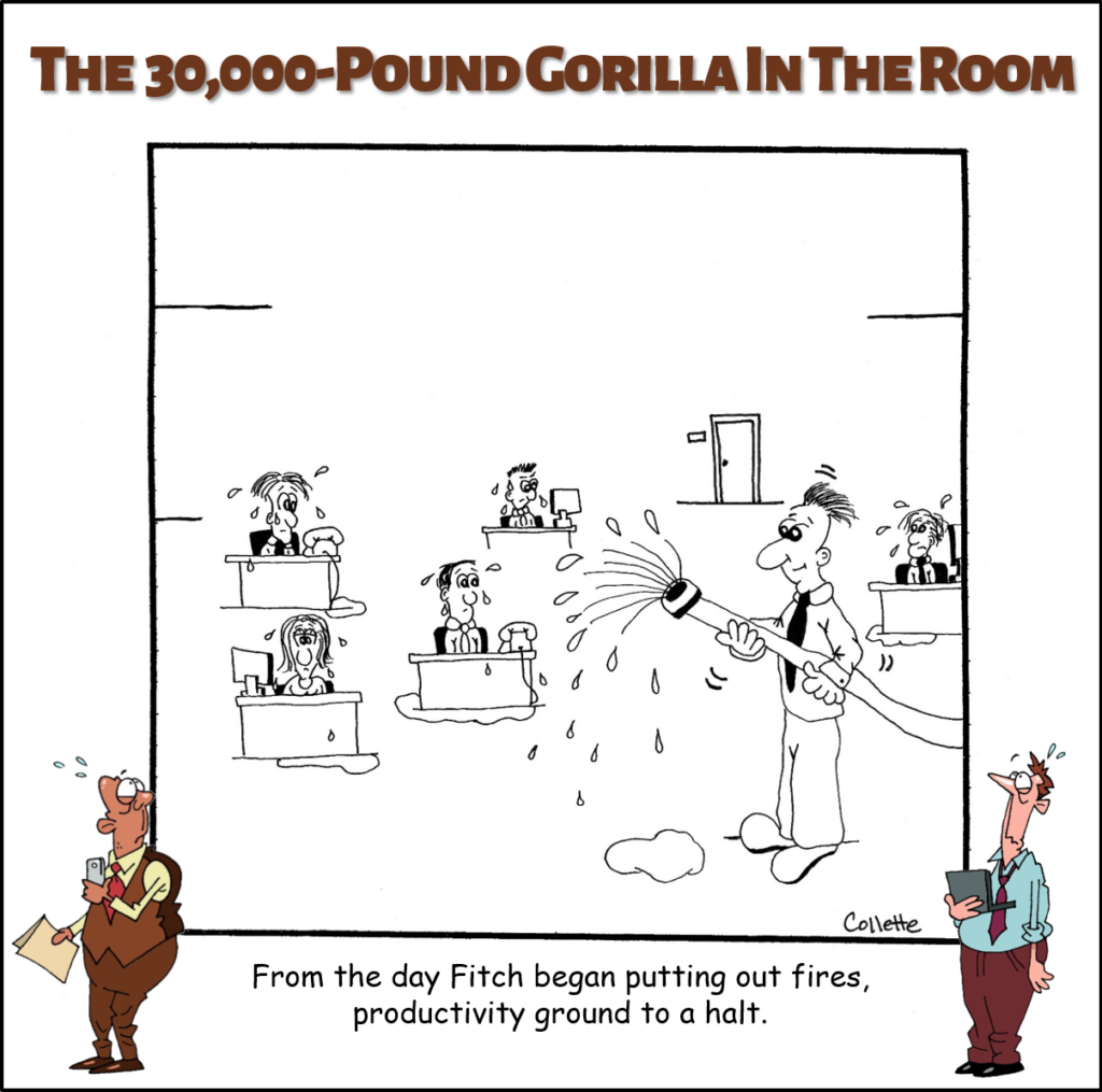 putting out fires annoying business phrase cartoon