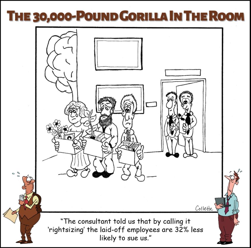 rightsizing - an annoying business term cartoon