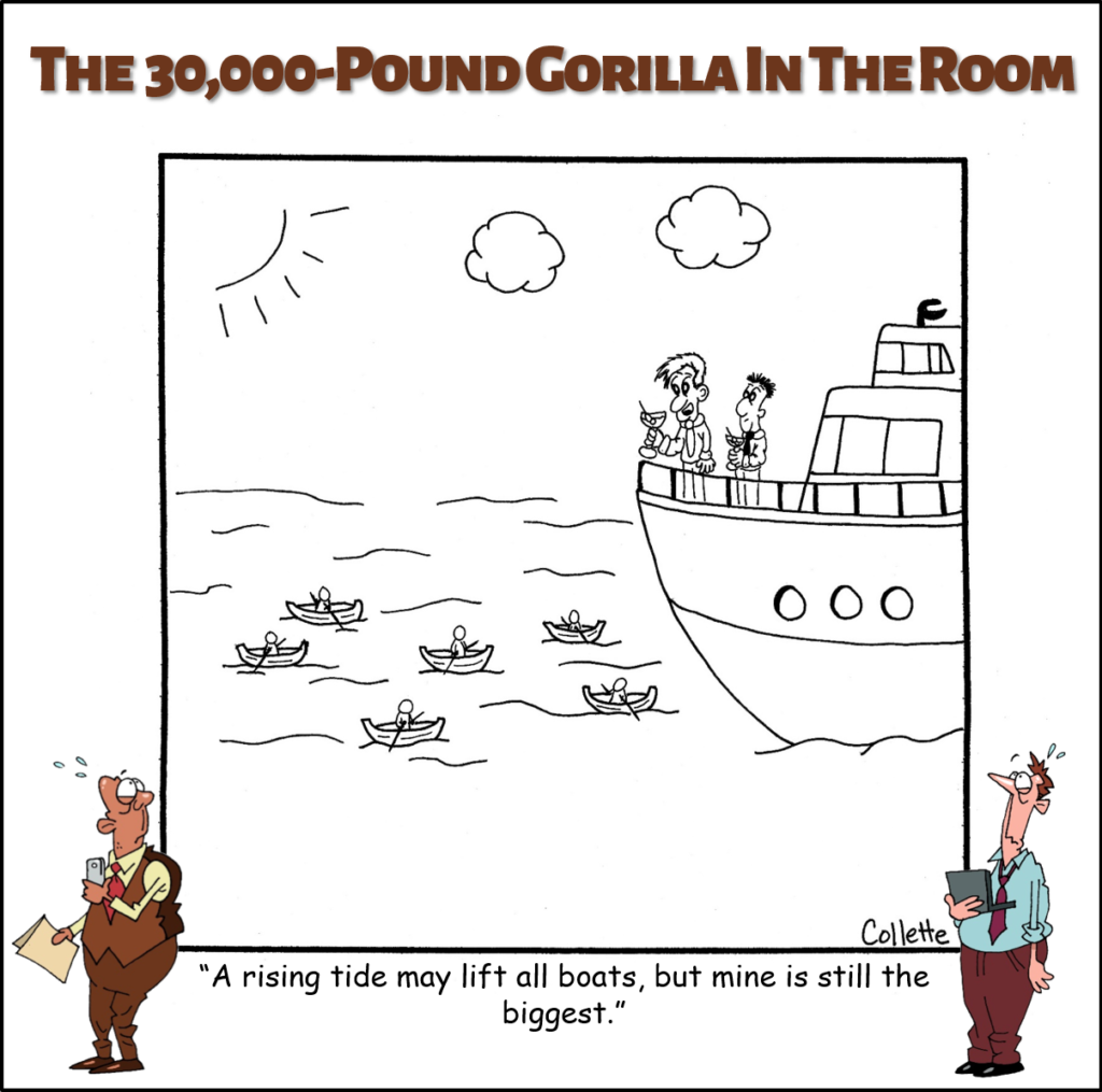 rising tide lifts all boats annoying business phrase cartoon