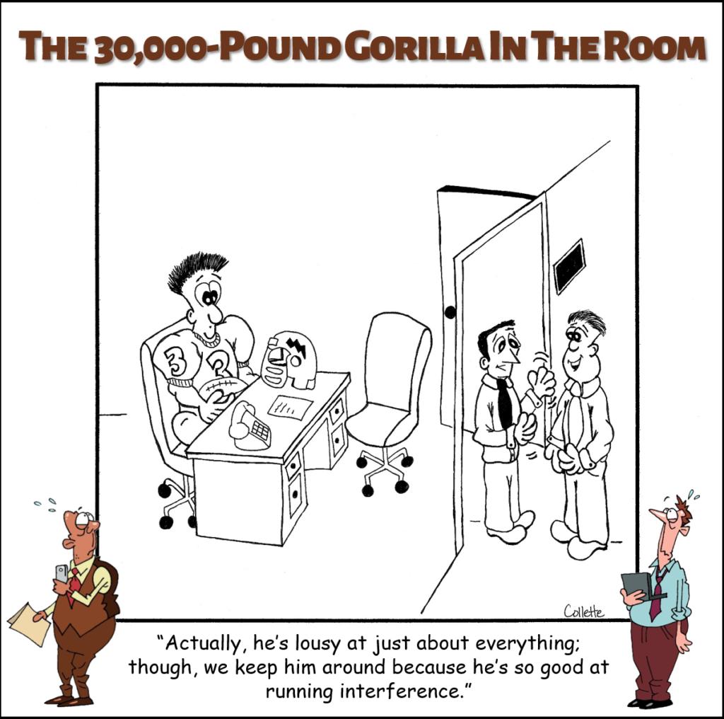 run interference annoying business phrase cartoon