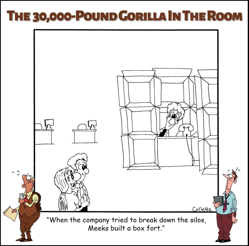 silos annoying business term cartoon