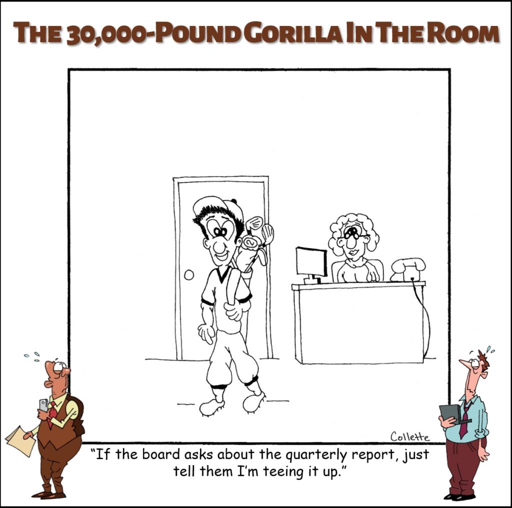 tee it up annoying business phrase cartoon