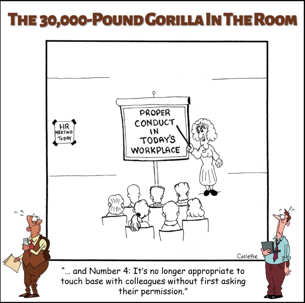 touch base annoying business term cartoon