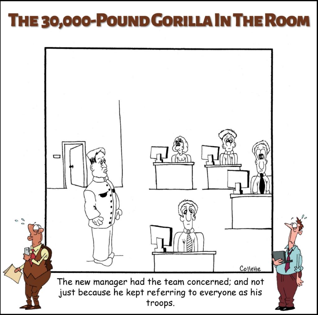 troops annoying business term cartoon
