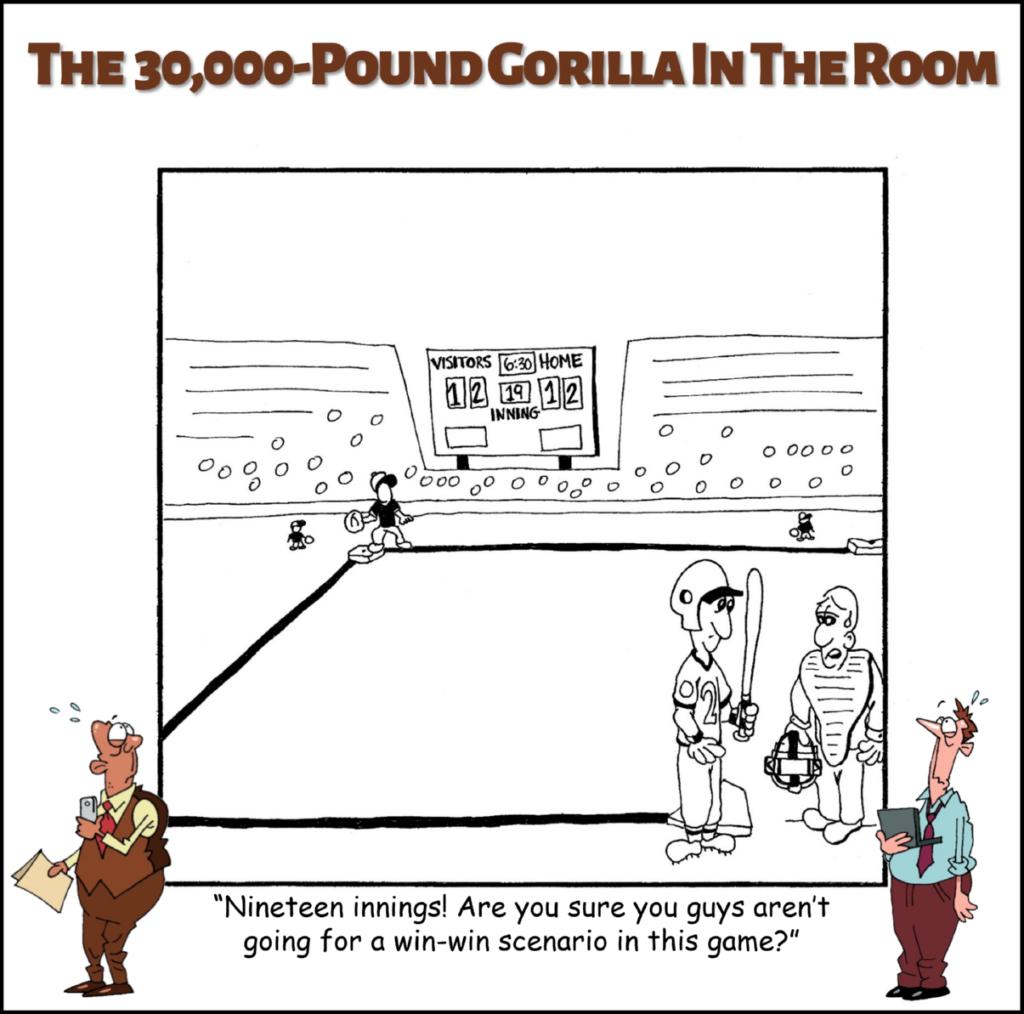 win-win scenario annoying business phrase cartoon