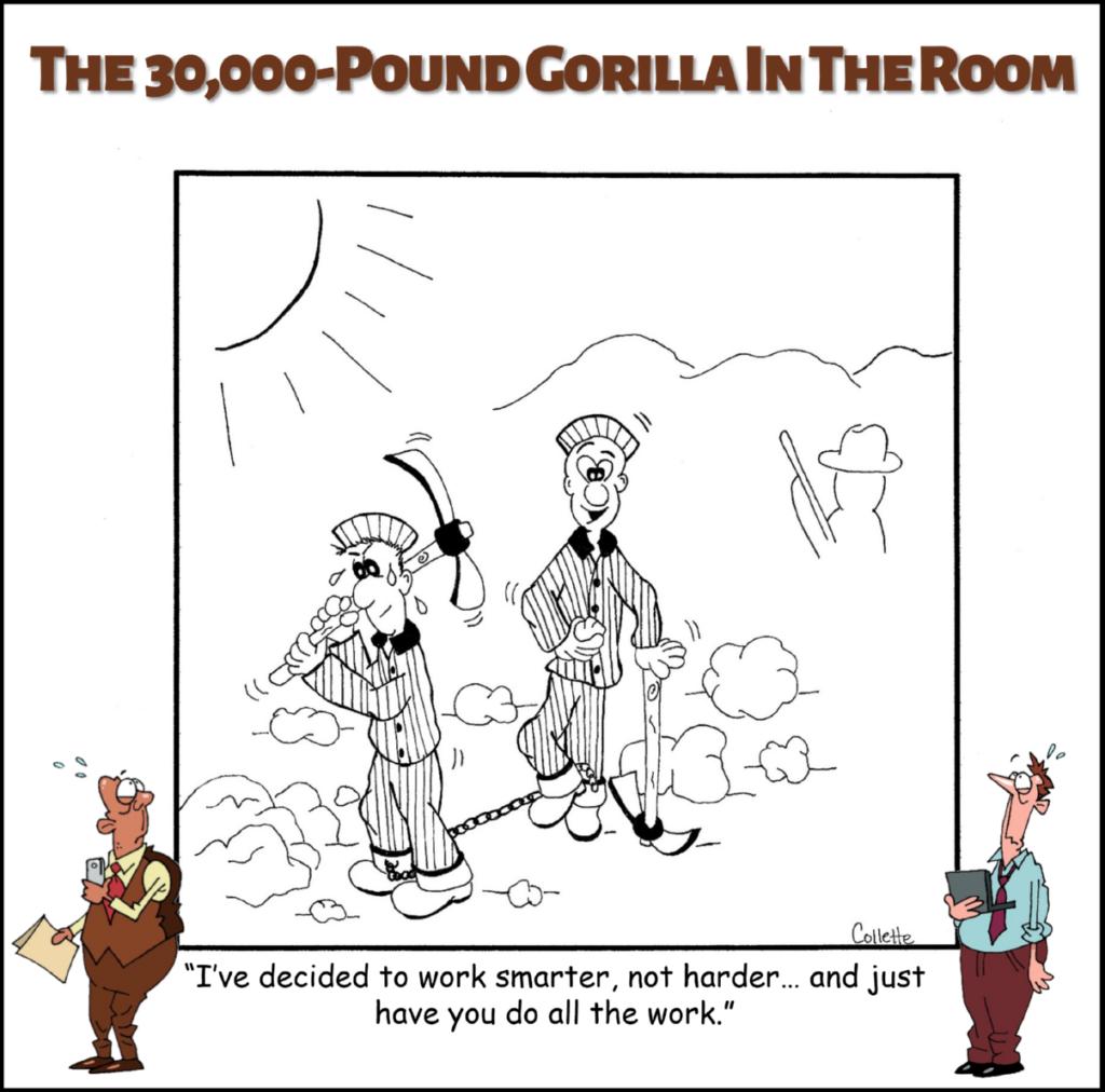work smarter, not harder annoying business phrase cartoon