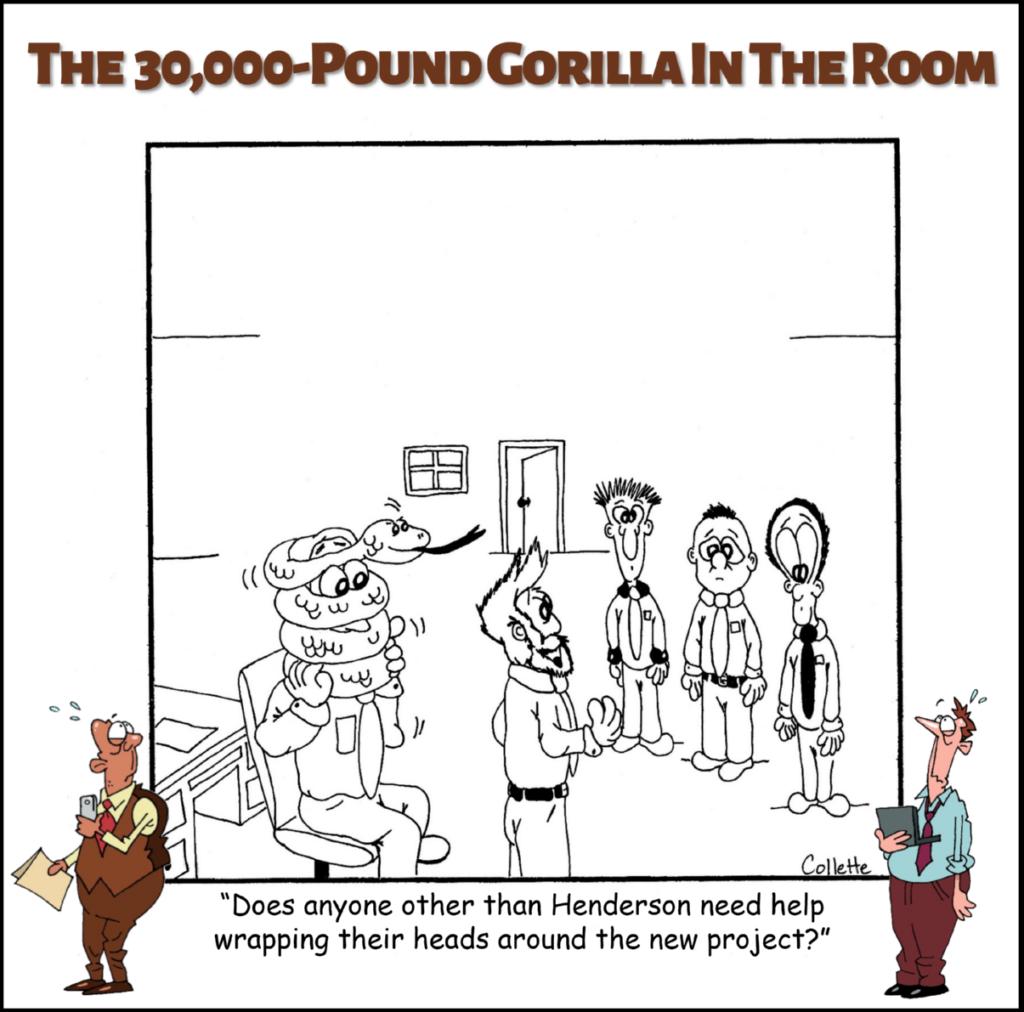 wrap one's head around annoying business phrase cartoon